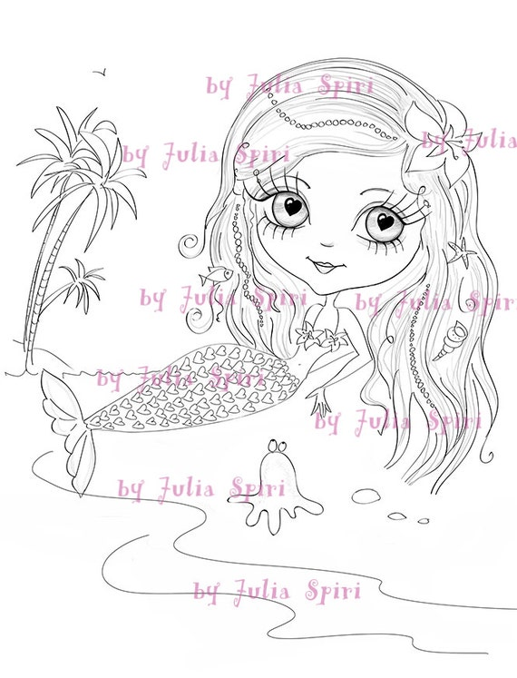 Digital Stamps Digi Scrapbooking Printable Mermaid Stamps