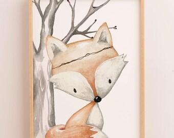 Woodland Nursery Print | Animal Nursery Art | Boho Woodland Nursery Decor | Boys Nursery Wall Art | Fox | Boys Prints | Art for Kids