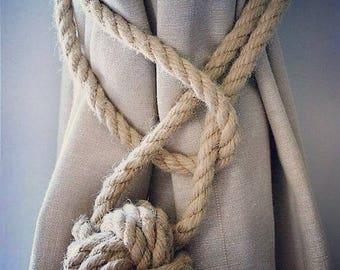 Hemp Rope Tiebacks/ Rustic Hemp Rope ties/ Monkey Fist Knot Curtain Tiebacks / shabby chic windows/ Rope Tiebacks/ nautical ties/ Ball ties