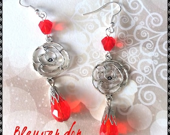 Romantic earrings pink and Red Crystal drops