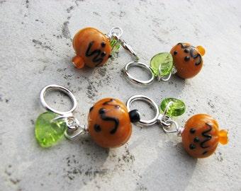 Jack O'Lantern Pumpkin Non Snag Stitch Markers