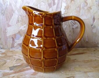 St Clement wine carafe, French wine carafe, Ceramic jug, Rope design