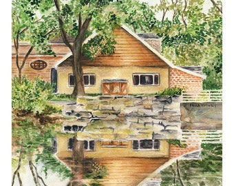 Cedarburg, Wisconsin Reflecting Pond View — Watercolor Giclee art print