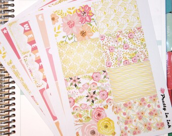 Isabel Erin Condren Planner Stickers Weekly Kit Summer Floral glossy or matte stickers