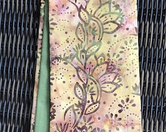 Clergy Stole, reversible Green and Gold Batik, spiral vines.  Perfect Pastor stole, Minister stole for Ordinary time- a wonderful gift!