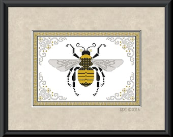 Bumblebee with Border Cross Stitch Pattern