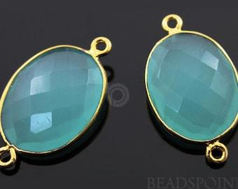 Aqua Blue Chalcedony Oval Connector Gold Vermeil, , 29x16mm,1 Piece, (BZC4057)