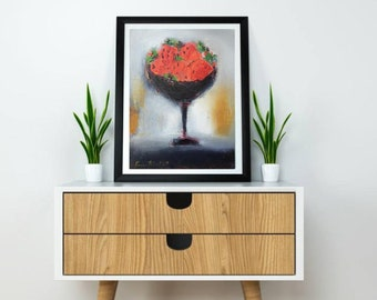 """Small original oil canvas 12""""x16"""" also giclee prints fine art paper print,modern still life with fruits red strawberry black kitchen bowl"""