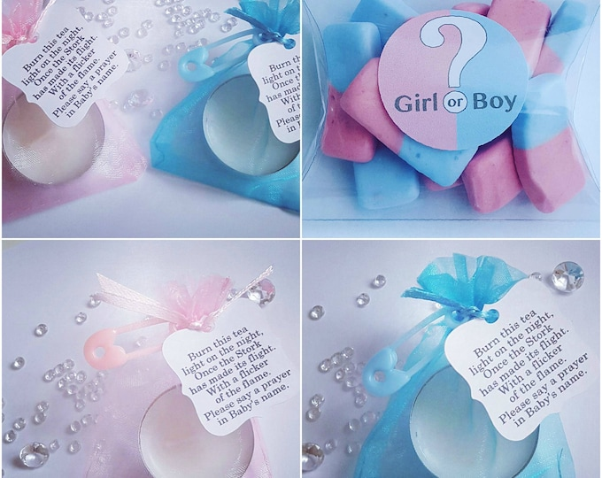 40 Gender reveal baby shower favours package.  Pillow box favours. Candy sweet favours