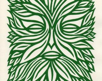 The Green Man linocut print