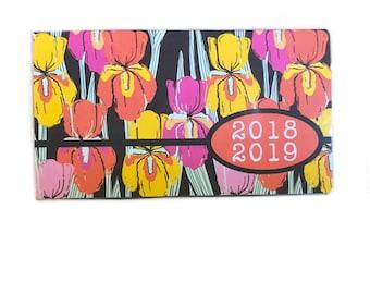 2018 - Organisation de 2019 mini Planner - Iris sauvage - poche Agenda - calendrier de deux ans - chic 2 ans ce mois-ci planificateur du nouvel an rétro