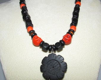 Halloween Skull Beaded Necklace Black n Orange