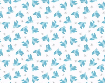 Sew Darling! - A290.1 - Flying Bluebirds on Cream - from Lewis & Irene