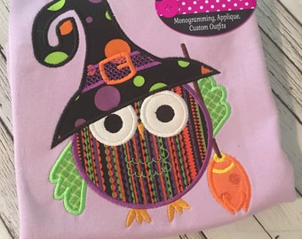 Personalized halloween owl witch! Great for girls!!