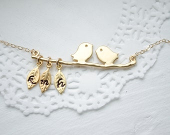 Personalized Gold Love Bird Necklace with Leaf Charms - Initial Leaves Birds on a Branch | Gold Filled Necklace | Family Jewelry |
