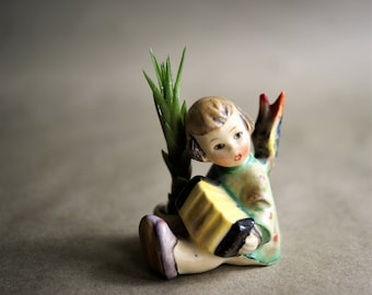 Vintage German Hummel Angel Candle Holder Playing an Accordion No. 39, 1920s 1930s Little Girl Crop Hair Style Figurine Made in Germany