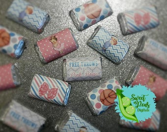 Free Throws or Pink Bows Gender Reveal Miniature Candy Bar Wrappers