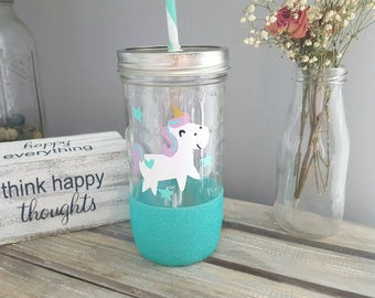 Unicorn tumbler, unicorn cup, unicorn drinkware, unicorn face, glitter tumbler glass tumbler, unicorn gift, unicorn design, unicorn glass