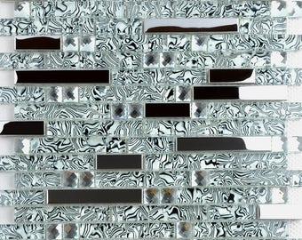 Silver Stainless Steel Metal and Crystal Glass Blend Mosaic Diamond Tiles Metallic Tile Backsplash