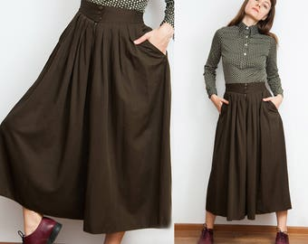 Vintage 80s Wide Pleated Khaki Culottes
