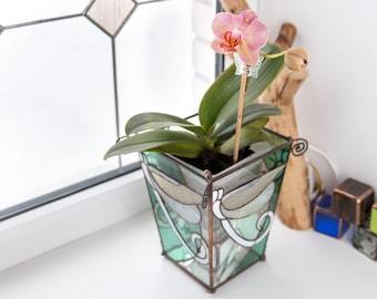 Glass Orchid Pot / Orchid Planter / Stain Glass Planter / Stain Glass Colored Flower Pot  / Glass Terrarium / Glass Florarium / Glass Vase /