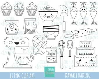 50% SALE BAKING stamp, commercial use, kawaii stamp, digi stamp, kitchen digi stamp, digital image, coloring page, printable graphics