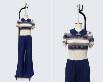 1970s Otaku Jumpsuit { S } Vintage 70s Peter Pan Sweater Playsuit