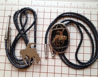 Classic western end of the trail bolo ties, tired warrior on horseback, engraved braided leather gold silver Native American new vintage