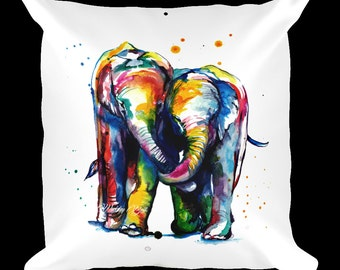 Colorful Elephants Holding Trunks Illustration Pillow