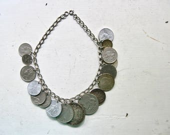 Sterling Silver Chain Necklace, Coin Necklace, Vintage Coin Jewelry, Collar Necklace, Estate Sale Jewelry, 925 Silver, Statement Necklace