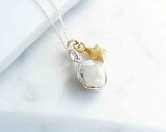 Silver Locket with Gold Star Charm