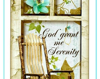 God Grant Me Serenity Inspirational Tag Set Digital Primitive INSTANT DOWNLOAD