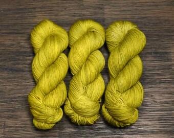 Hand Dyed Yarn - 'Piper -' Superwash Merino Nylon Fingering Sock Yarn acid yellow 420 yards