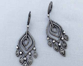 Vintage chandelier earrings etsy chandelier earrings silver 925 mozeypictures Images