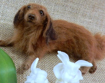 Custom dog replica dachshund portrait from photo needle felted dog miniature dog soft sculpture felted dog replica Wiener Dog gift pet loss