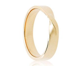 Twisted Wedding Ring, 14K Gold Mobius Ring, Medium Version, Gold Twist Ring, 14K Gold Unisex Wedding Band