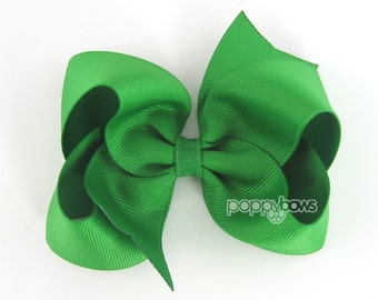 Kelly Green Hair Bow - 4 Inch Hair Bows Baby Toddler Girl - Solid Color Emerald Green Boutique Hairbows St. Patricks Day