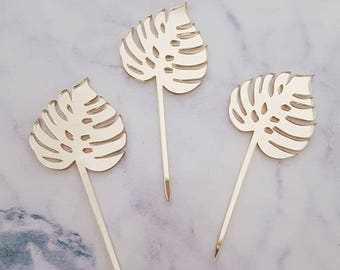 Set of 12  Monstera leaf cupcake toppers  - perfect for luau , beach,Hawaiian themed parties