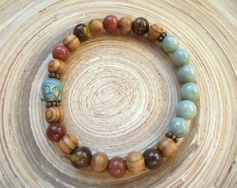 Bracelet Yoga Buddha Jade Goldstone Tiger eye Wood 8 mm
