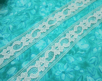 Light Blue lace, 1 yard of 3/4 inch Light Blue Chantilly Lace Trim, pale blue, seam lace for wedding, baby by MarlenesAttic - Item JJ7