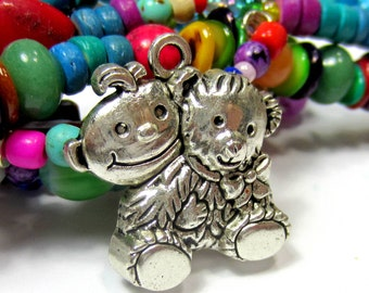 6 Baby with Teddy bear charms antique silver metal charms baby charms 25mm x 26mm