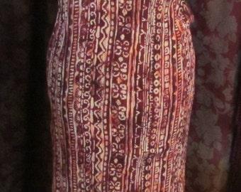 Batik Print Sheath Dress Vintage