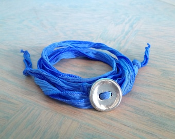 Athletic Jewelry, Adjustable Bracelet, Fiber Bracelet, Silk Ribbon, Wrap Bracelet, Active Wear Bracelet, Yoga Bracelet, #6-002