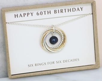 60th birthday gift, June birthstone necklace 60th, black pearl necklace for 60th birthday - Lilia