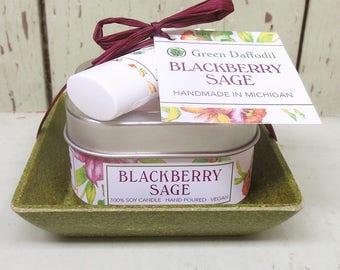 Blackberry Sage Candle & Lip Dish Kit-  Green Daffodil