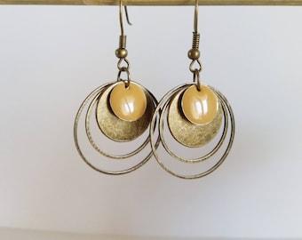 Earrings graphic circles enamel cappuccino