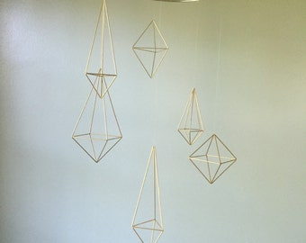 6 gold geometric shape, wedding decor, baby mobile, modern nursery, gold wedding, geometric wedding