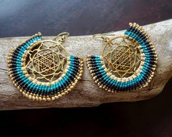 Sri Yantra Macrame Brass Earrings | Blue, Teal, Beige Sacred Geometry | Bohemian Chic