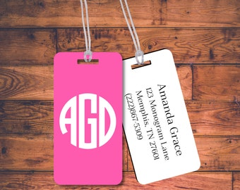 SET OF 5 Pack of Bag Tags Luggage - Personalized Custom Monogram Travel Backpack Family Kids Bridesmaid Gift Bridal Party Bridesmaide