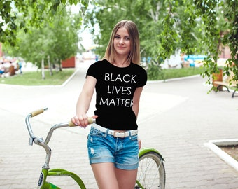 Black Lives Matter T-Shirt - Womens Tshirt - Racial Equality - Activist Movement - Peace - Love on Earth - Positive Slogan Tee Shirt